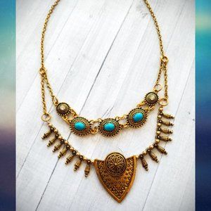 Jewelry - Gold tone Boho Antique Tribal Necklace NWT